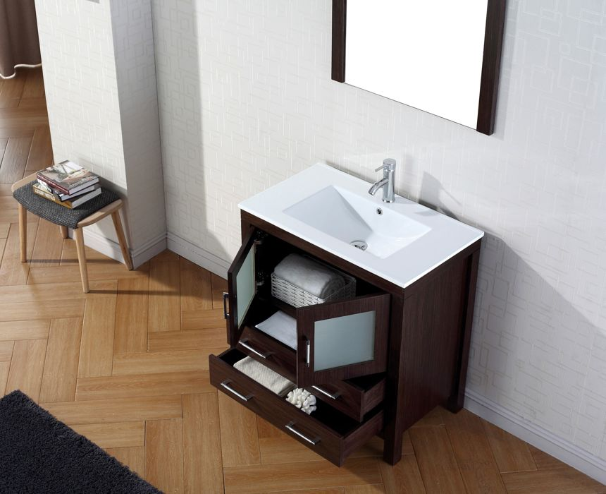 Virtu Usa 32 Inch Dior Bathroom Vanity Espresso With