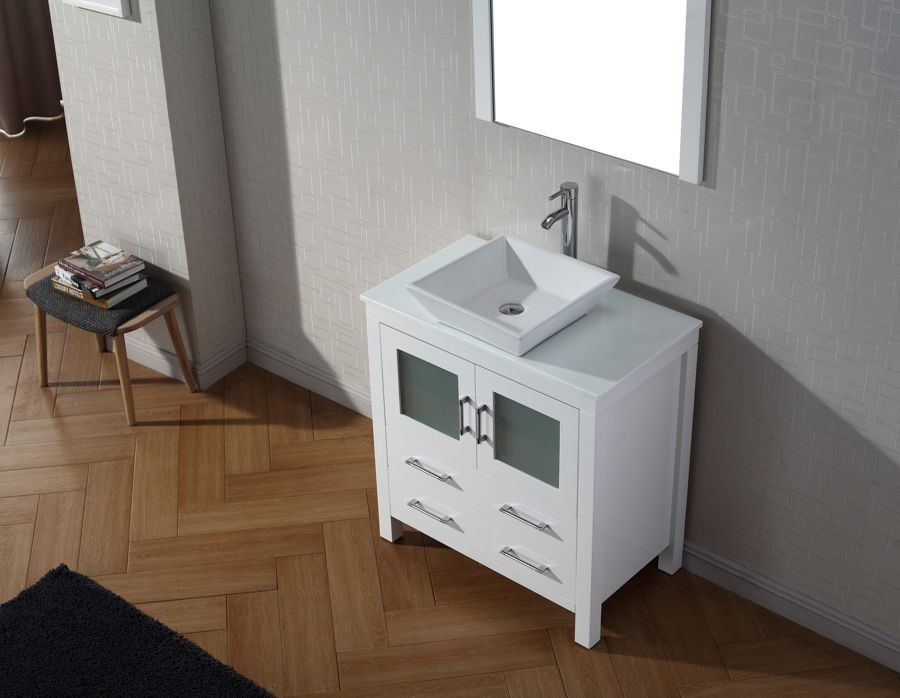 Virtu 32 Inch Dior Bathroom Vanity Set In White With Pure Marble Countertop