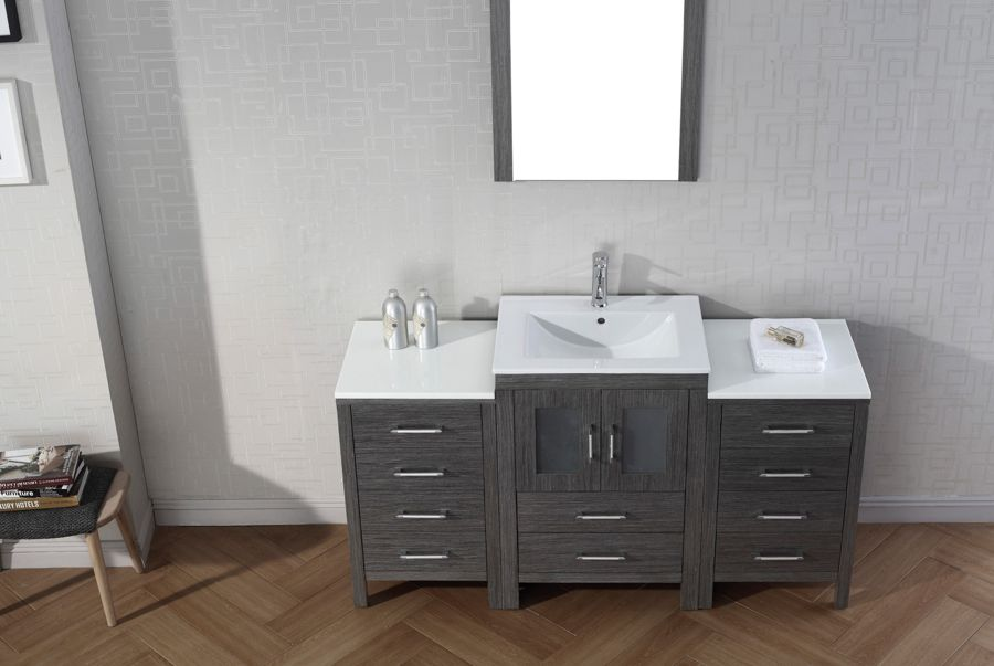 Virtu Usa 60 Inch Dior Bathroom Vanity Zebra Grey With