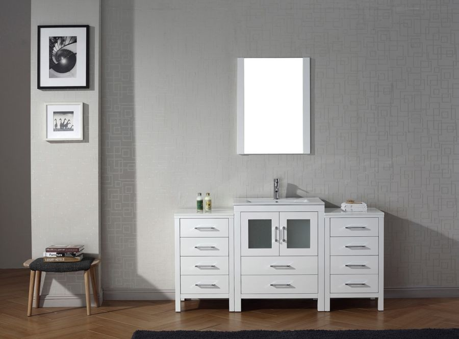 Virtu Usa 64 Inch Dior Bathroom Vanity White With Ceramic
