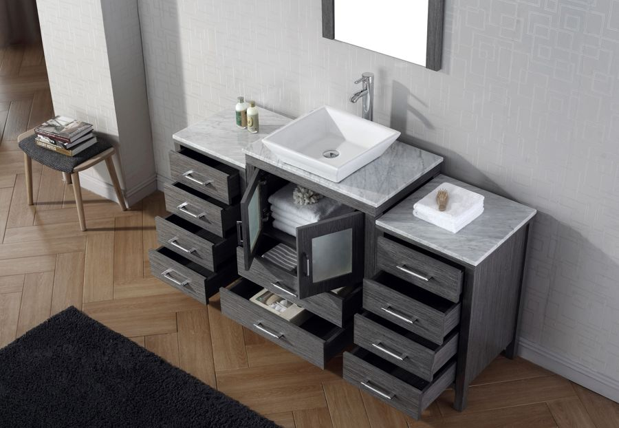 Virtu Usa 64 Inch Dior Bathroom Vanity Zebra Grey With