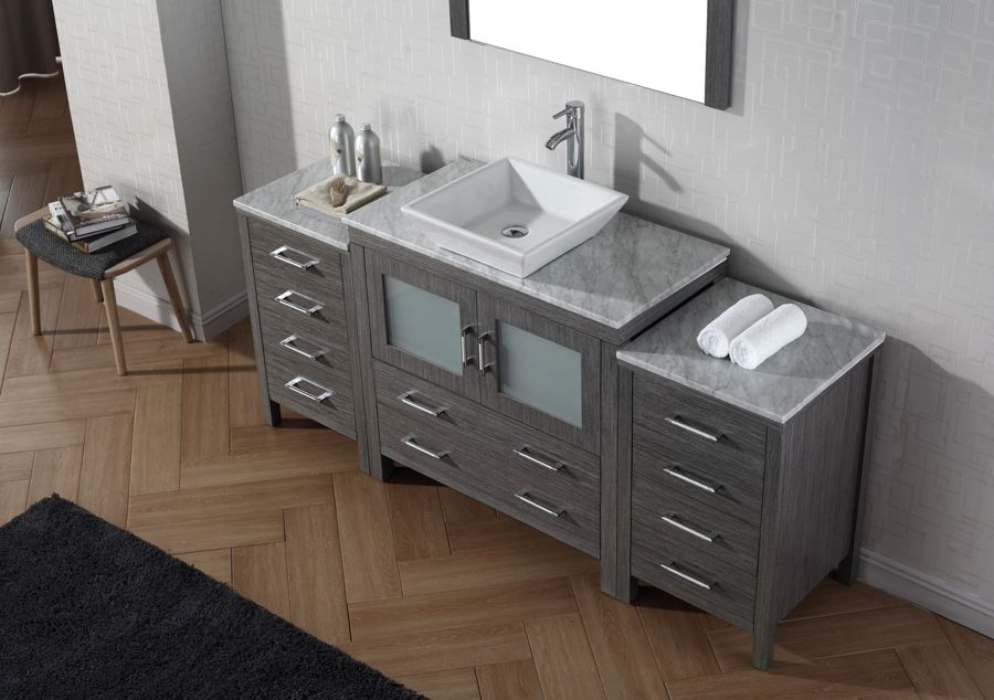 Virtu USA Inch Dior Bathroom Vanity Zebra Grey With Italian - 66 inch bathroom vanity