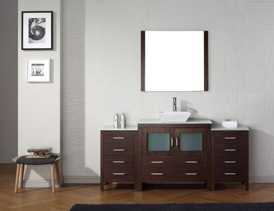 Virtu USA 68 Inch Dior Bathroom Vanity Espresso With Italian Carrara Marble  Countertop