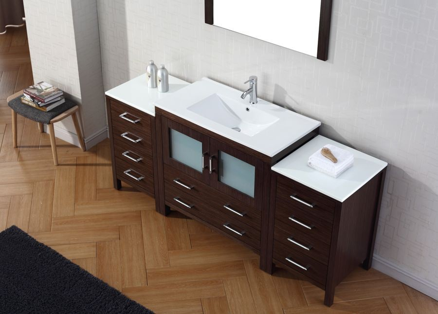Virtu Usa 72 Inch Dior Bathroom Vanity Espresso With Ceramic