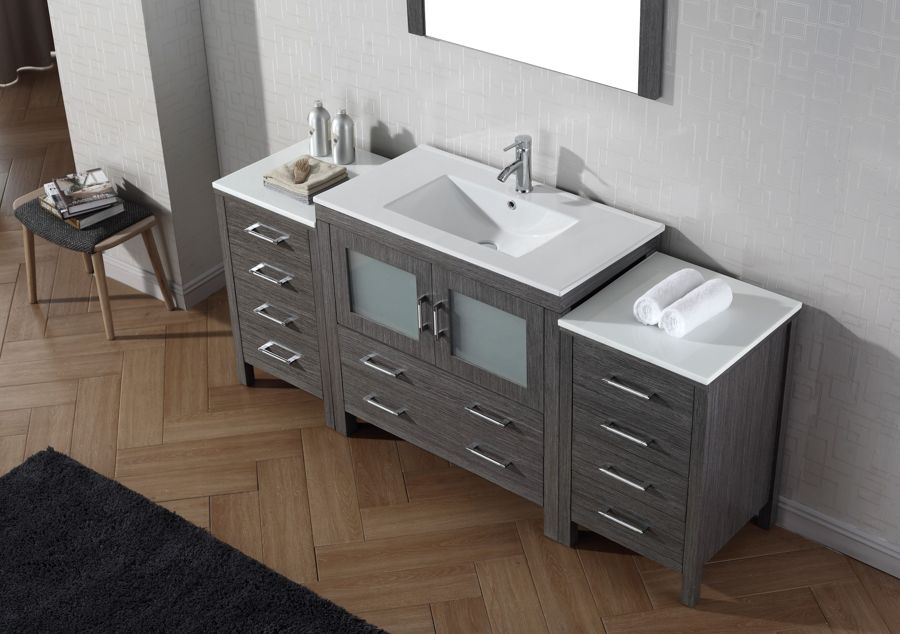 "Virtu USA 72"" Dior SINGLE Sink Bathroom Vanity Set in Zebra grey with Ceramic Countertop"
