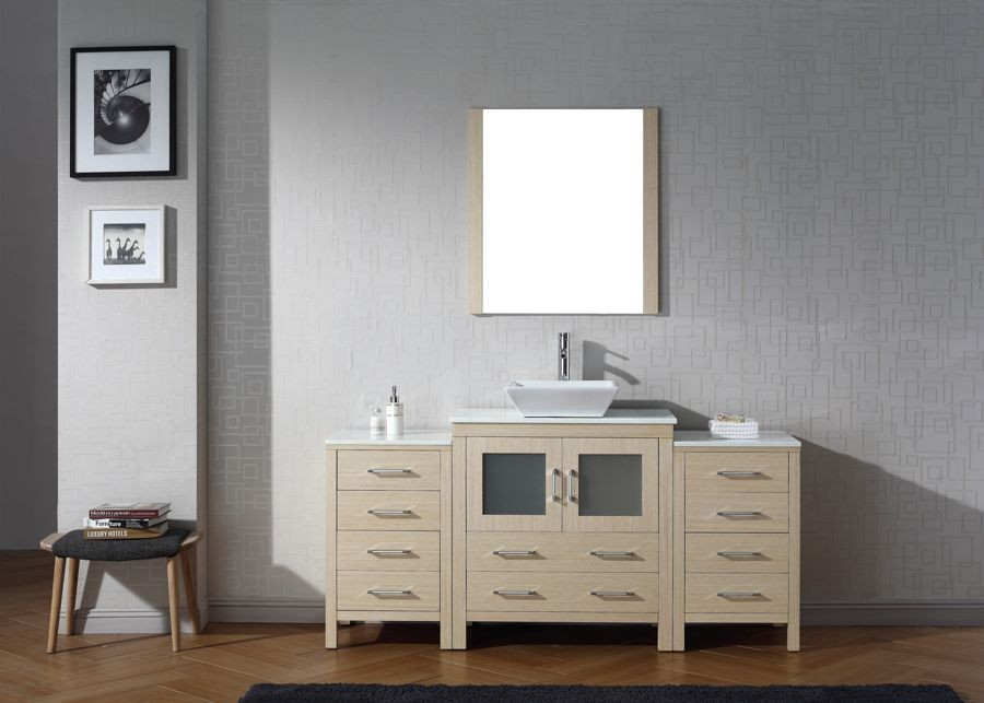 Virtu USA 72 Inch Bathroom Vanity Dior SINGLE Sink in Light Oak with ...
