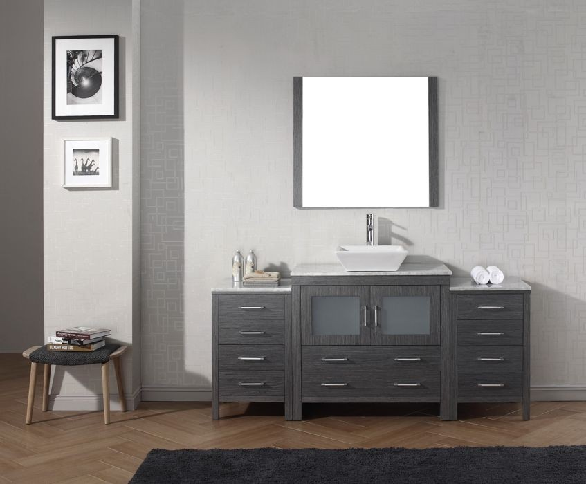 Astounding Virtu Usa 72 Inch Dior Bathroom Vanity Zebra Grey With Italian Carrara Marble Countertop Brushed Nickel Faucet New Bathroom Style Home Remodeling Inspirations Cosmcuboardxyz