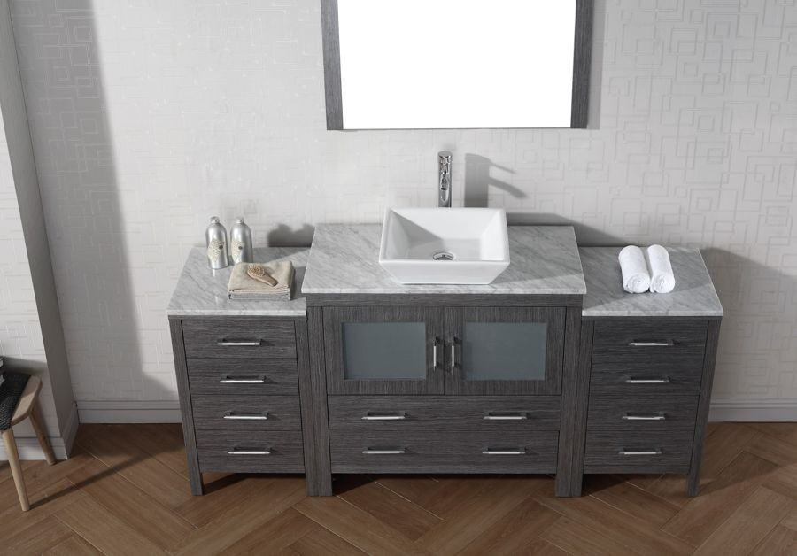 Virtu Usa 72 Dior Single Sink Bathroom Vanity Set In Zebra Grey With Italian Carrara