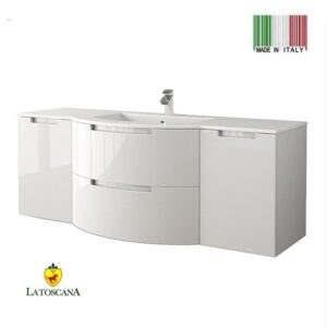 LaToscana 57 Inch OASI Modern Bathroom Vanity Glossy White with two drawers left and right side cabinets