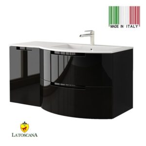 La Toscana 43 Inch OASI Modern Bathroom Vanity drawers left Black OA43OPT3B