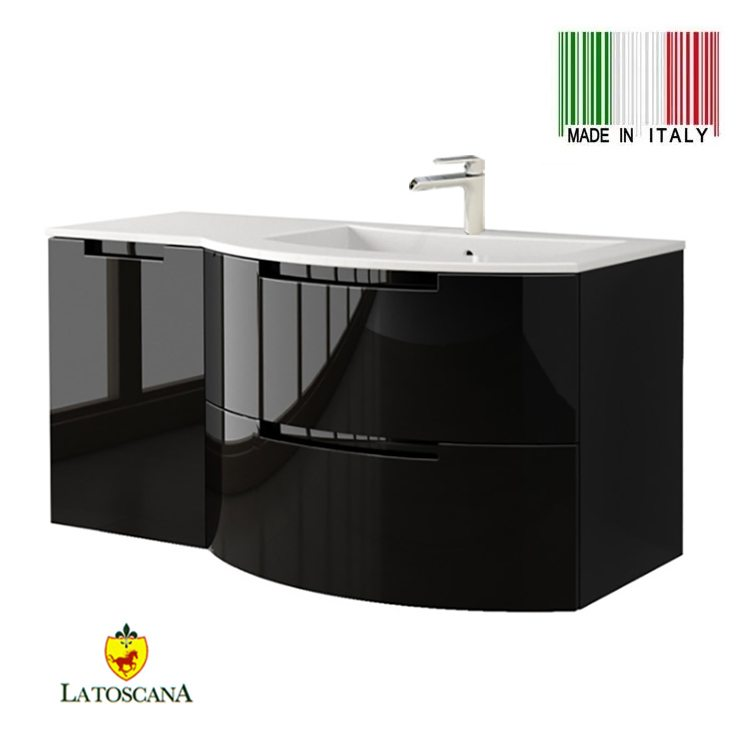 La toscana 43 inch oasi modern bathroom vanity drawers - Bathroom vanity with drawers on left ...