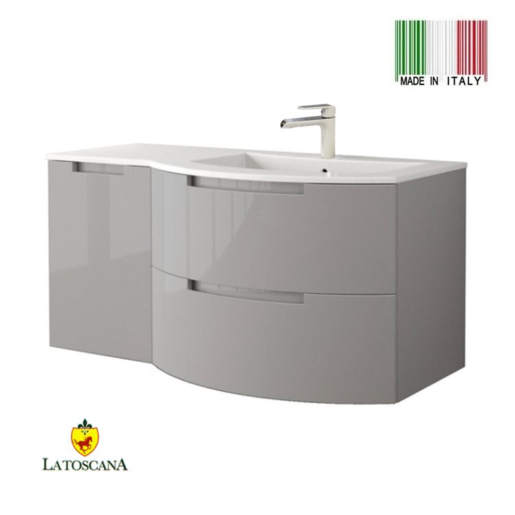Groovy La Toscana 43 Inch Oasi Modern Bathroom Vanity Drawers Left Glossy Gray Oa43Opt3Gg New Bathroom Style Download Free Architecture Designs Boapuretrmadebymaigaardcom