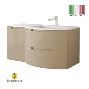 LaToscana 43Inch OASI Modern Bathroom Vanity drawers left Glossy Sand OA43OPT3GS