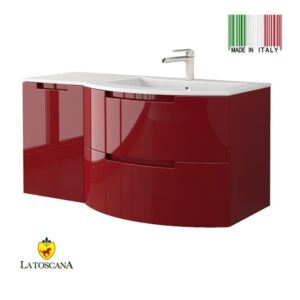 La Toscana 43 Inch OASI Modern Bathroom Vanity drawers left RED OA43OPT3R
