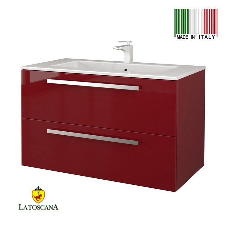LaToscana 34 Inch AMBRA Modern Bathroom Vanity With Finish Glossy Red  AM34OPT1R