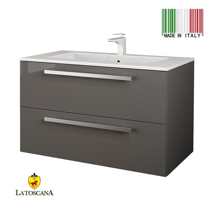 Latoscana 34 Inch Ambra Modern Bathroom Vanity With Finish Slate Glossy