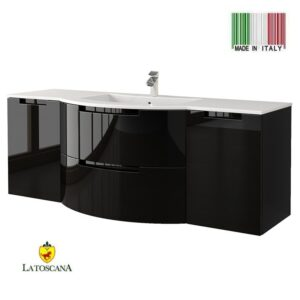 LaToscana 57 Inch OASI Modern Bathroom Vanity Black with two drawers OA57OPT4B