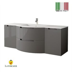 LaToscana 57 Inch OASI Modern Bathroom Vanity Glossy Gray with two drawers left and right side cabinets