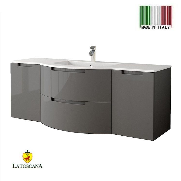 Latoscana 57 inch oasi modern bathroom vanity glossy gray - Bathroom vanity with drawers on left ...