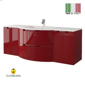 LaToscana 57 Inch OASI Modern Bathroom Vanity Glossy Red with two drawers OA57OPT4R
