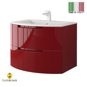 LaToscana Oasi 29 inch Modern Bathroom Vanity Glossy Red with 2 Slow Close Drawers and Tekorlux Sink Top OA29OPT1R