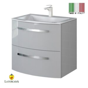 LaToscana Palio 22 inch Modern Bathroom Vanity with 2 Slow Close Drawers and Tekorlux Sink Top With Finish Glossy Gray PA22OPT1G