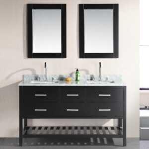 London 61 Inch Double Sink Vanity Set in Espresso with Open Bottom Design Element, DEC077C