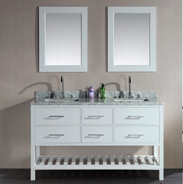 London 61inch Double Sink Vanity Set In White With Open