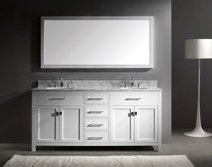 Virtu 72 Inch Caroline Bathroom Vanity White With Italian Carrara