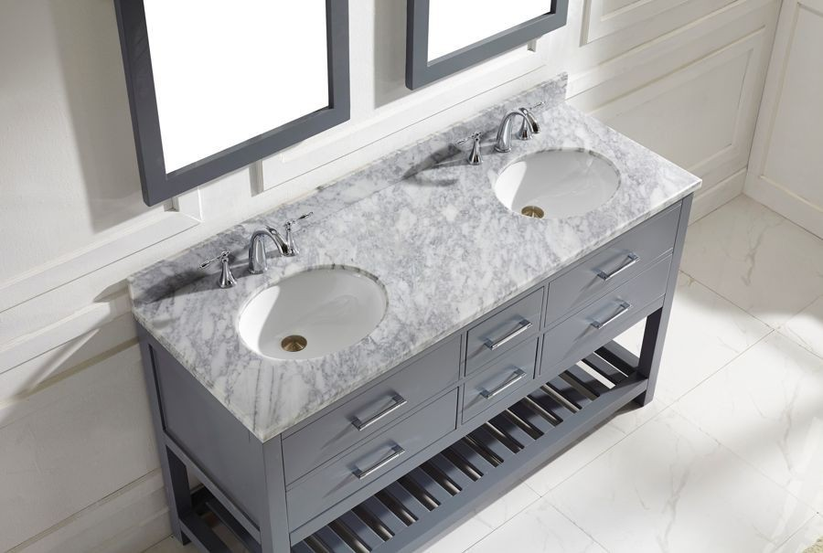 virtu usa 60 caroline estate double sink vanities round sink bathroom vanity in grey with - Double Sink Bathroom Vanities