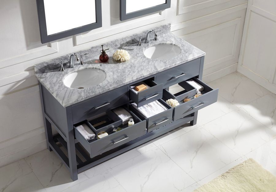 Virtu USA 60 Inch Caroline Estate Bathroom Vanity Round ...