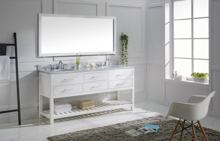 Virtu 72 Inch Caroline Estate Bathroom Vanite White New