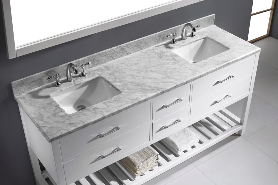 Virtu 72 Inch Caroline Estate Bathroom Vanity White