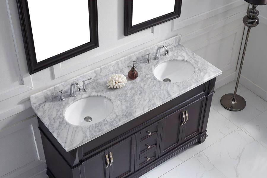 Virtu Usa 60 Victoria Double Sink Vanities Round Bathroom Vanity Set In Espresso With