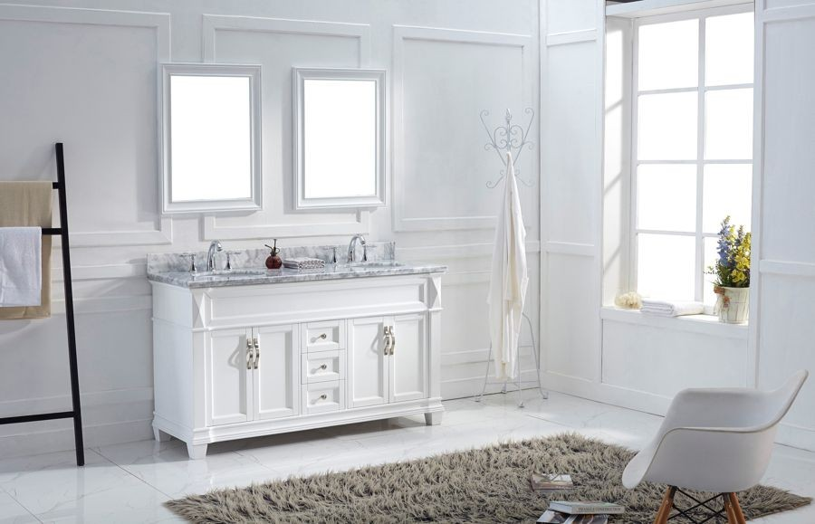 Virtu Usa 60 Victoria Double Sink Vanities Round Bathroom Vanity Set In White With