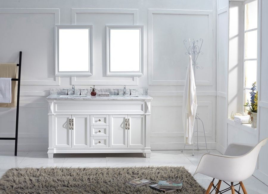 Virtu 60 Inch Victoria Bathroom Vanity White with Italian Carrara