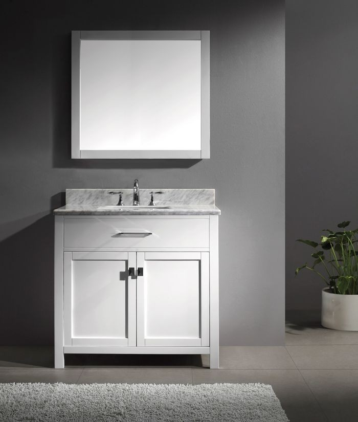 Virtu 36 Inch Caroline Bathroom Vanity In White With Italian Carrara White  Marble