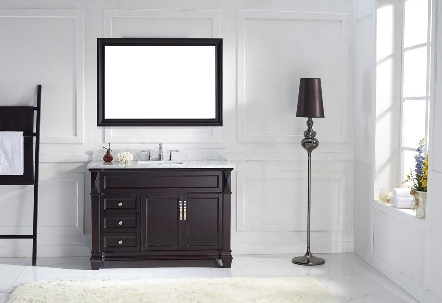 Virtu USA 48Inch Victoria Bathroom Vanity Set in Espresso with ... on martha stewart seal harbor bathroom vanity, distressed cream bathroom vanity, 40 bathroom vanity, 30 inch bathroom vanity, single basin bathroom vanity, 48 single bathroom vanities, dresser bathroom vanity, long single sink vanity, white single sink vanity, 60 inch single bathroom vanity, trough sinks bathroom vanity, 24 inch sink vanity, sheffield bathroom vanity, cheap single bathroom vanity, french provincial bathroom vanity, sale home depot bathroom vanity, lowe's unfinished bathroom vanity, bathroom cabinets over vanity, mocha bathroom vanity, diy pallet bathroom vanity,