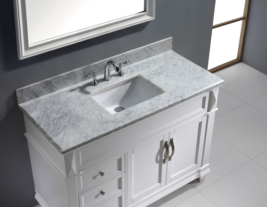 Virtu 48 Inch Victoria Bathroom Vanity White Marble