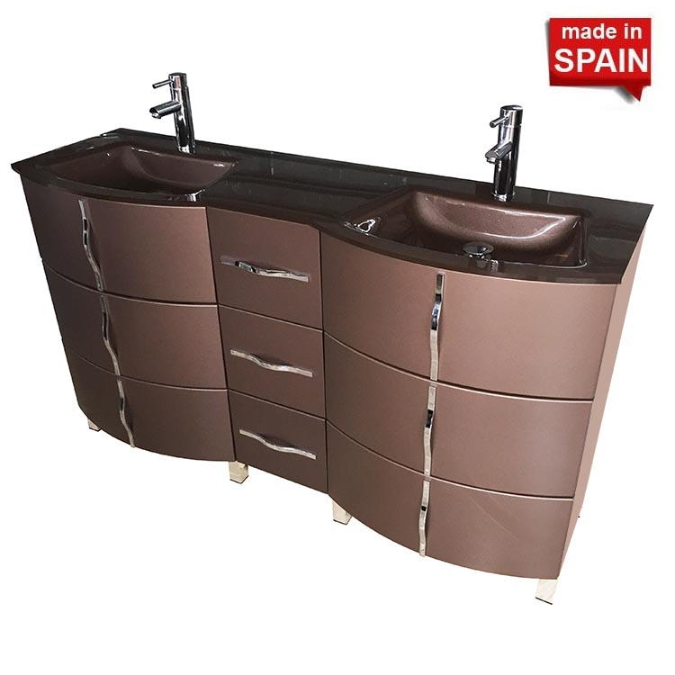 60 Inch Krom Socimobel Double Bathroom Vanity Color Metal Brum