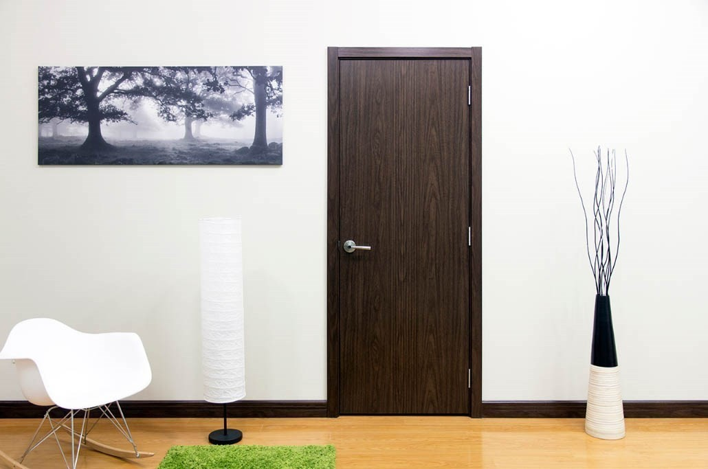 Modern Interior Door M34 Black Walnut Laminated Mdf Newbathroomstyle