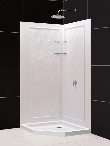 "DreamLine SlimLine 42"" by 42"" Neo Shower Receptor and QWALL-4 Shower Backwall Kit, DL-6185-01"