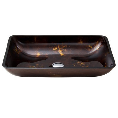 Vigo Vessel Sink VG07044 Rectangular Brown and Gold Fusion Glass
