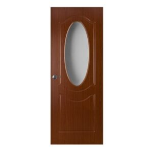 Red Walnut Interior Door with glass P-060