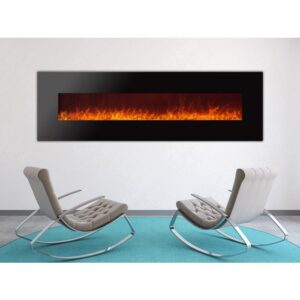Royal Series - Electric Wall Mount Fireplace with Crystals - 72 inch