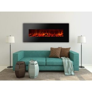 Royal Series - Electric Wall Mount Fireplace with Logs - 60 inch