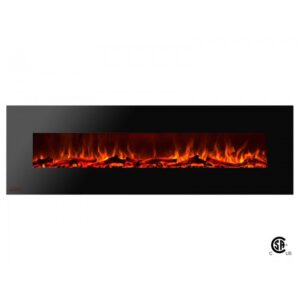 Royal Series - Electric Wall Mount Fireplace with Logs - 72 inch