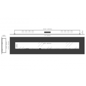 Royal Series - Electric Wall Mount Fireplace with Logs - 95 inch