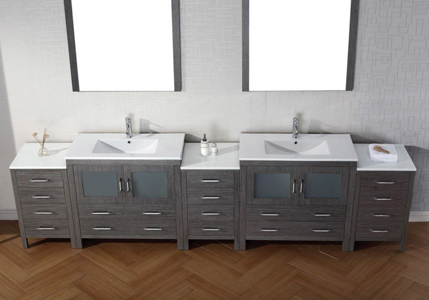 Virtu USA Inch Dior DOUBLE SINK VANITY Zebra Grey With Ceramic - Integrated bathroom sink and countertop