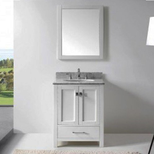 "Virtu USA 24"" Caroline Avenue SINGLE Round Sink Bathroom Vanity in White with Italian Carrara White Marble GS-50024-WMRO-WH-002"